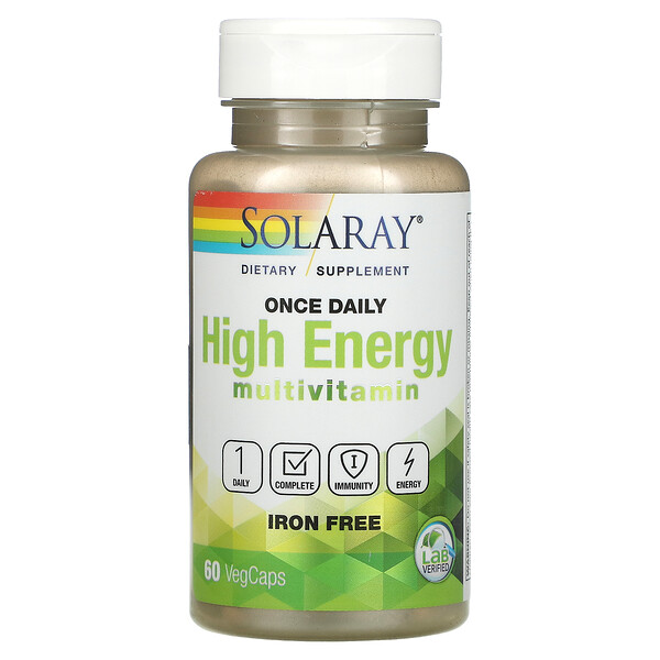 Once Daily, High Energy Multivitamin, Iron Free, 60 VegCaps