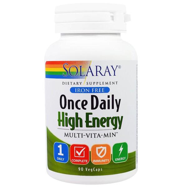Solaray, Once Daily High Energy, Multi-Vita-Min, 90 VegCaps (Discontinued Item)
