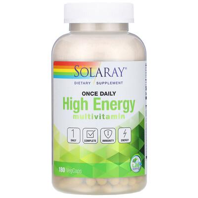 Solaray Once Daily High Energy, мультивитаминный комплекс, 180растительныхкапсул
