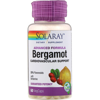 Solaray, Advanced Formula, Bergamot, Cardiovascular Support, 60 Vegcaps