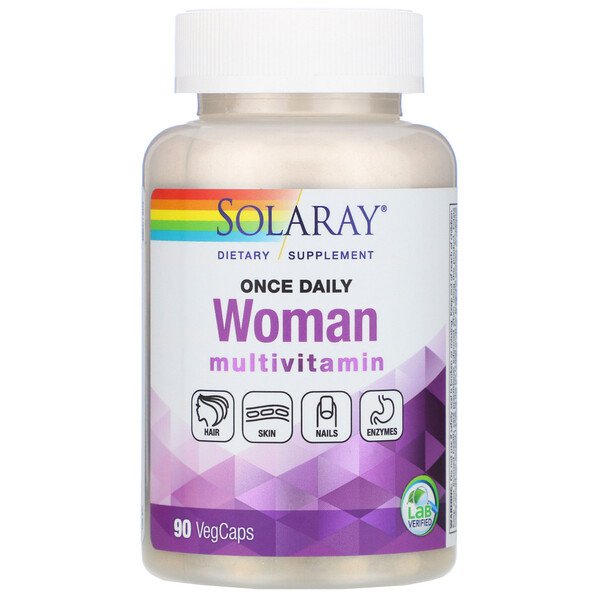 Solaray, Женские мультивитамины, один раз в день, 90растительных капсул