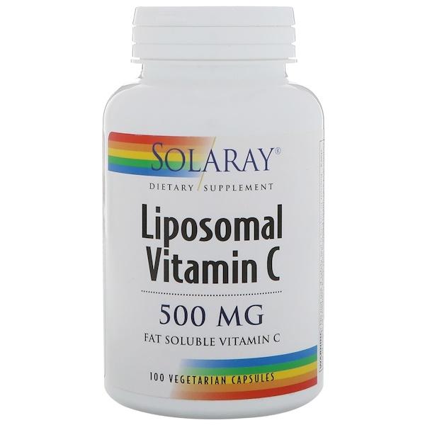 Solaray, リポソームビタミンC、500mg、植物性カプセル100錠