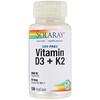 Solaray, فيتامين د-3 + ك-2 خالٍ من فول الصويا، 120 كبسولة نباتية