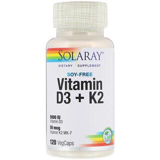 Solaray, Soy-Free Vitamin D-3 + K-2, 120 VegCaps