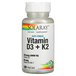 Solaray, 維生素 D3 + K2,無大豆,120 粒素食膠囊