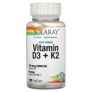 Solaray, 비타민D3 + K2, 대두 무함유, 베지 캡슐 120정