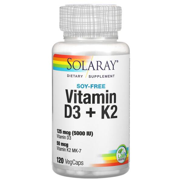 Solaray, витаминыD3иK2, без сои, 120вегетарианских капсул