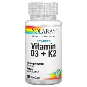 Соларай, Vitamin D3 + K2, Soy Free, 120 VegCaps отзывы покупателей