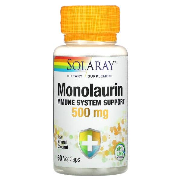 Solaray, монолаурин, 500мг, 60вегетаріанських капсул