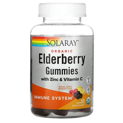 Solaray Organic Elderberry Gummies With Zinc & Vitamin C, Natural Lemon & Raspberry, 60 Gummies