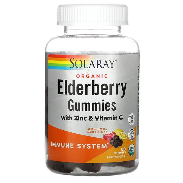 Organic Elderberry Gummies With Zinc & Vitamin C, Natural Lemon & Raspberry, 60 Gummies