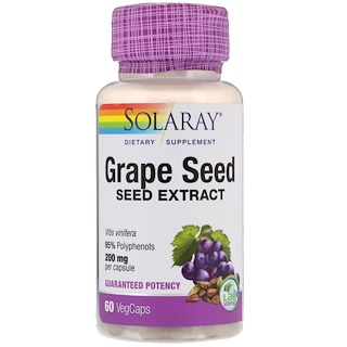 Solaray, Grape Seed Extract, 200 mg, 60 Vegetarian Capsules