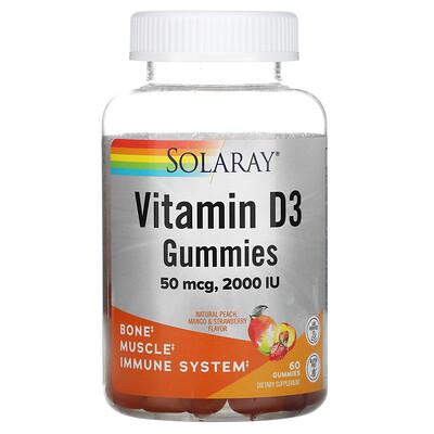 Solaray Vitamin D3 Gummies, Natural Peach, Mango, & Strawberry, 50 mcg (2,000 IU), 60 Gummies