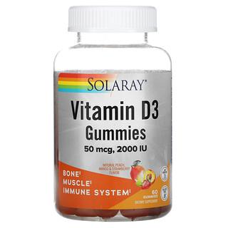 Solaray, Vitamin D3 Gummies, Natural Peach, Mango, & Strawberry, 25 mcg (1,000 IU), 60 Gummies