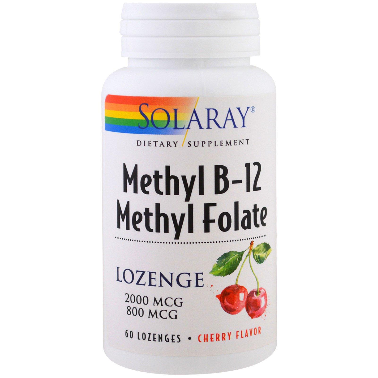 Solaray, Метил B-12 метил-фолат, Вишневый вкус, 60 пастилок