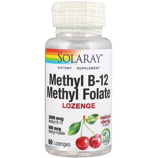 Solaray, Methyl B-12 Methyl Folate, Natural Cherry Flavor, 60 Lozenges