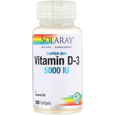 Купить Solaray Супер био витамин D-3, 5 000 МЕ, 120 мягких таблеток