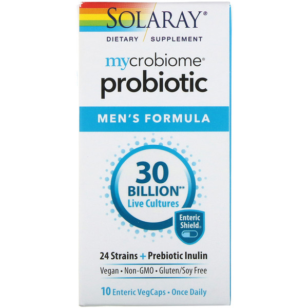 Solaray, Mycrobiome, Probiotic Men's Formula, 30 Billion, 10 Enteric VegCaps (Discontinued Item)