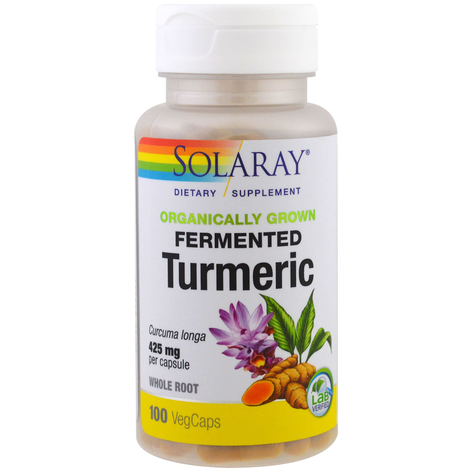 Solaray, Organically Grown Fermented Turmeric, 100 Veggie Caps