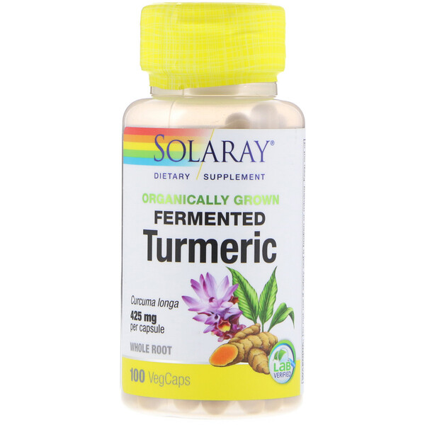 Solaray, Organically Grown Fermented Turmeric, 425 mg, 100 VegCaps