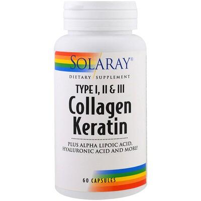 Коллаген кератин, тип I, II, III, 60 капсул
