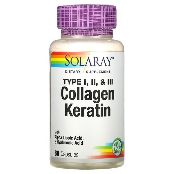 Solaray, Collagen Keratin, Type I, II, III, 60 Capsules