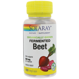 Solaray, Organically Grown Fermented Beet, 500 mg, 100 VegCaps