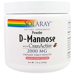Solaray, D-Mannose with CranActin, Lemon Berry Flavor, 2000 mg, 7.6 oz (216 g)