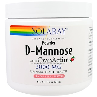Solaray, D-Mannose with CranActin, Lemon Berry Flavor, 2000 mg, 7.6 oz (216 g)