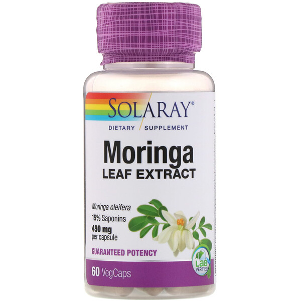 Solaray, Moringa Leaf Extract, 450 mg, 60 Vegcaps