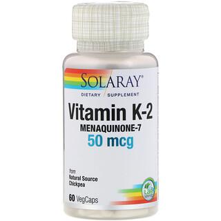 Solaray, Vitamin K-2 Menaquinone-7, 50 mcg, 60 VegCaps