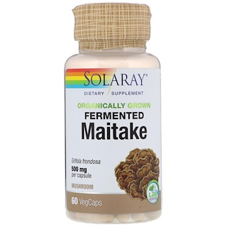 Solaray, Organically Grown Fermented Maitake, 500 mg, 60 VegCaps