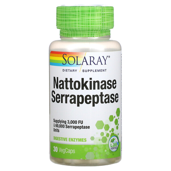 наттокиназа и серрапептаза, 30вегетарианских капсул