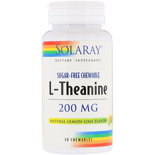 Solaray, L-Theanine, Natural Lemon-Lime Flavor, 200 mg, 30 Chewables