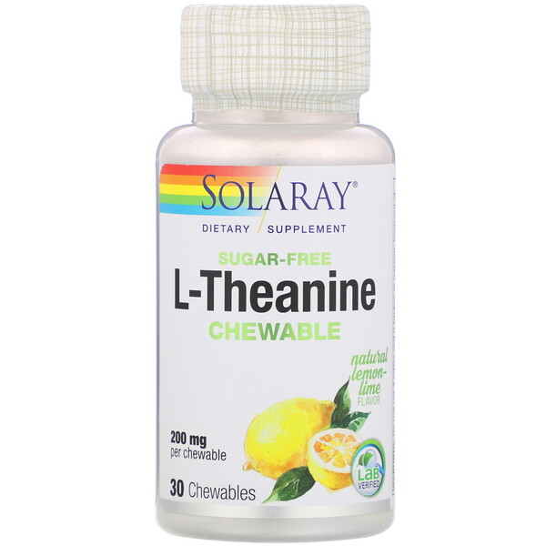 Solaray, L-Theanine, Sugar Free, Natural Lemon-Lime Flavor, 200 mg, 30 Chewables