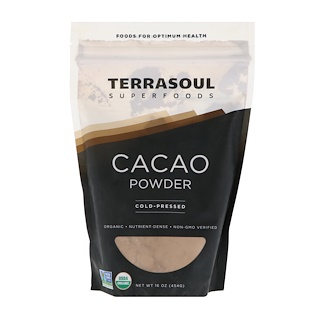 Terrasoul Superfoods, カカオパウダー、冷温圧搾、454g(16 oz)