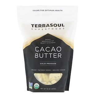 Terrasoul Superfoods, Cacao Butter, Cold-Pressed, 16 oz (454 g)