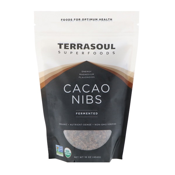 Terrasoul Superfoods, カカオニブズ(Cacao Nibs)、発酵済み 、16オンス(454 g) (Discontinued Item)
