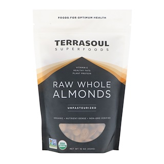 Terrasoul Superfoods, Raw Whole Almonds, Unpasteurized, 16 oz (454 g)