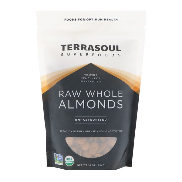 Terrasoul Superfoods, Raw Whole Almonds, Unpasteurized, 16 oz (454 g) (Discontinued Item)