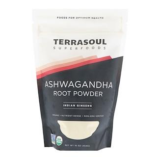 Terrasoul Superfoods, Raíz Ashwagandha en polvo, ginseng de la India, 16 oz (454 g)