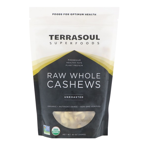 Terrasoul Superfoods, Raw Whole Cashews, Unroasted, 16 oz (454 g) (Discontinued Item)