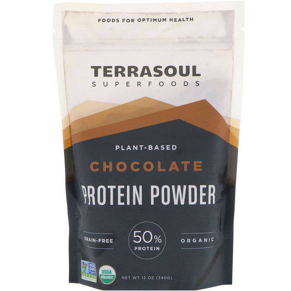 Terrasoul Superfoods, Plant-Based Protein Powder, Chocolate, 12 oz (340 g) (Discontinued Item)