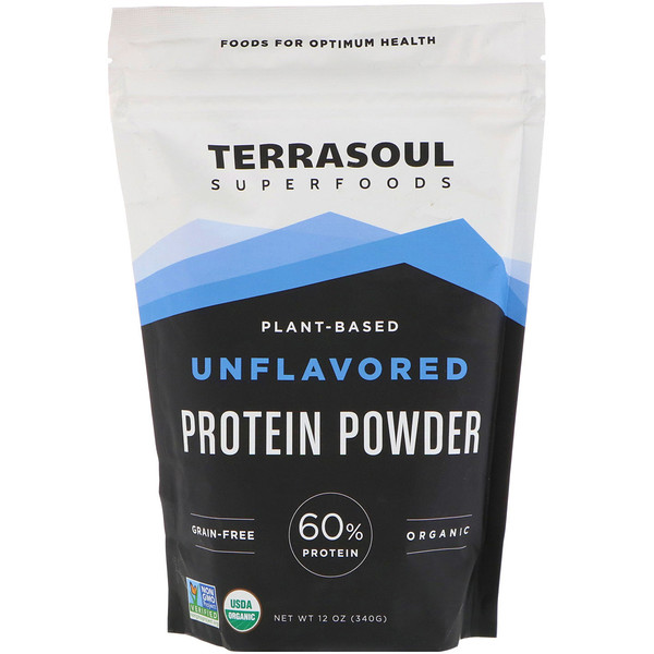 Terrasoul Superfoods, Plant-Based, Unflavored, Protein Powder, 12 oz (340 g) (Discontinued Item)