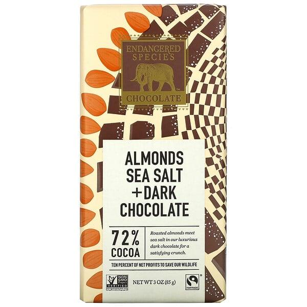 черный шоколад с миндалем и морской солью, 72%какао, 85г (3унции)