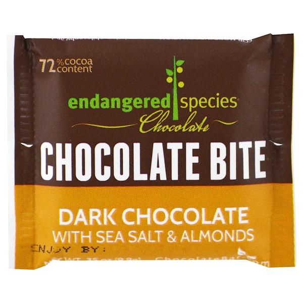 Endangered Species Chocolate,  Шоколадное Мини-Печенье на один Укус, Темный Шоколад с Морской Солью и Миндалем, 0.35 унций (9,9 г) (Discontinued Item)