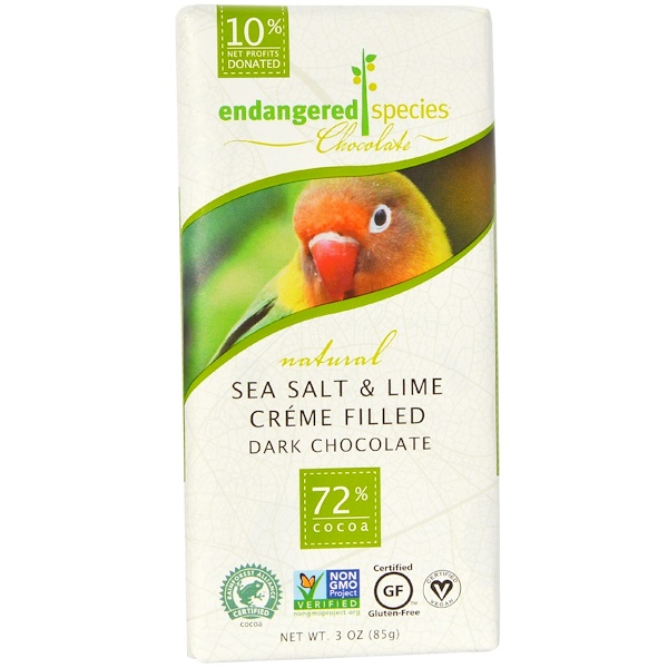 Endangered Species Chocolate, Sea Salt & Lime Creme Filled Dark Chocolate, 3 oz (85 g) (Discontinued Item)