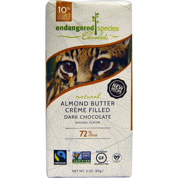 Endangered Species Chocolate, Almond Butter Creme Filled Dark Chocolate, 3 oz (85 g) (Discontinued Item)
