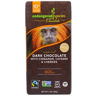 Endangered Species Chocolate, Dark Chocolate With Cinnamon, Cayenne & Cherries, 3 oz (85 g)