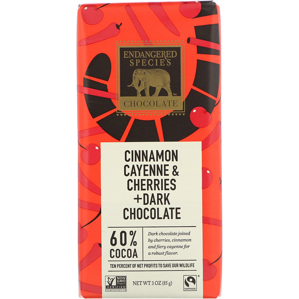 Endangered Species Chocolate, Cinnamon Cayenne & Cherries + Dark Chocolate, 3 oz (85 g) (Discontinued Item)